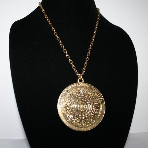 Large gold Aztec Calendar and sun necklace
